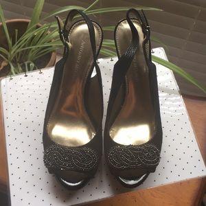 Antonio Melani Black Peeptoe Heels (size 8M)